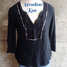 Anthro Meadow Rue top Lovely black top, excellent condition. Bundle for discount Anthropologie Tops Blouses