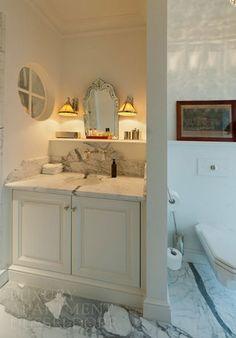 Marble counter top with backsplash shelf