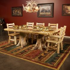 The Cedar Lake Deluxe Log Dining Table is made from Northern White Cedar logs. This table will look beautiful in your home, lodge, log cabin, or country cottage. Visit us online or call for more log furniture. Dinning Room Tables, Solid Wood Dining Table, Dining Table Design, Dining Rooms, Cedar Furniture, Rustic Log Furniture, Luxury Furniture, Furniture Design, Amish Furniture