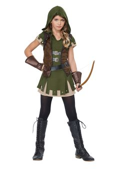 miss robin hood tween costume you know the famous story of robin hood if a young lady in your life wants to be a female archer she will need a great - Popular Tween Halloween Costumes