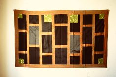 kesa uttarasô with seven columns. Made of several different fabrics, some pleated linen. October 2000. 116 x 185 cm.