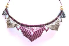 grey and purple macrame lotus necklace boho bohemian hippie micro macrame necklace