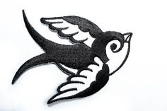 Iron-on Patch / Old School Swallow Tattoo / Two Tones / Embroidery / Appliqué
