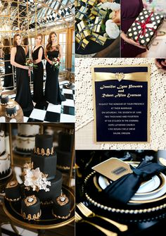 Gatsby themed black and gold wedding ideas