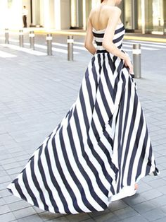 Choies Limited Edition Black Stripe Off Shoulder Maxi Dress | Choies