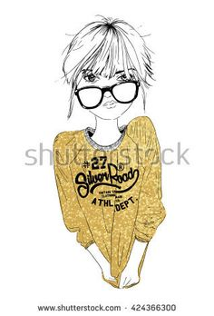 fashion girl with glitter illustration 1