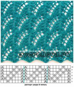 Fans of lace knitting Lace Knitting Stitches, Lace Knitting Patterns, Knitting Charts, Lace Patterns, Knitting Designs, Baby Knitting, Stitch Patterns, Knitting Socks, Free Knitting