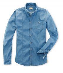 Q1 Hemd SANDRO in Nadelstreifen, Denim/Blue in 100% Baumwolle Denim Button Up, Button Up Shirts, Sandro, Blue Denim, Shirt Dress, Mens Tops, Shopping, Dresses, Fashion