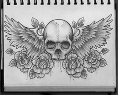 """Skull with wings - """"Nothing can separate you from the love of God"""" Romans 8: 38-39"""