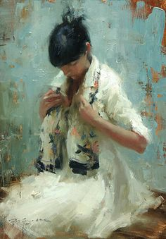 """""""KP with Scarf"""" - Hsin-Yao Tseng (Taiwanese, b. 1986) {contemporary #expressionist artist female scarf seated woman painting}"""
