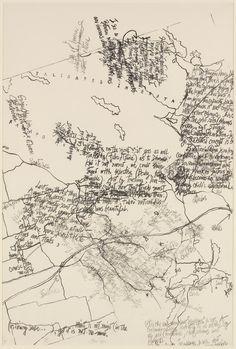 "John Cage / ""Mushroom Book Plate X"" / 1972 / Drawing / He was an American composer, music theorist, writer, philosopher, and artist. Grafik Art, Graphic Score, Neo Dada, Poesia Visual, John Cage, Fluxus, Art Sculpture, Illustration, Calligraphy Art"