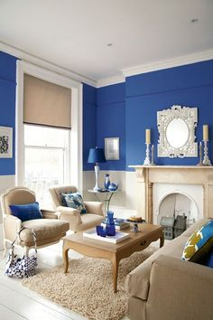 Break up grey walls, neutral linen or wooden furniture by painting the top half of a wall in electric blue, then dot matching accessories throughout.