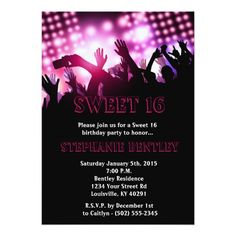 Pink Rock Star Sweet 16 Birthday Invitation