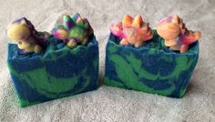 Handmade soap.  Fruit Loops Fragrance.   Topped with dinosaur mini soaps.  Each soap is about 4.5 oz  Handmade Soap made with coconut oil, olive oil, palm oil, water, lye, Avocado oil,  aloe oil, shea butter, mineral mica powder (color), and fragrance oil