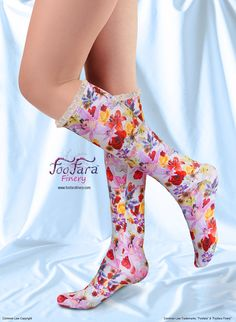 "♥ These cute, colorful, elegant, socks, are made with a soft and silky lightweight technical fabric that is moisture wicking and offers U.V. protection. ""Rose Garden"" print.♥"