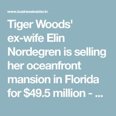 Sotheby's International RealtyTiger Woods' ex-wife Elin Nordegren is selling her Florida mansion.Tiger Woods and his ex-wife, former Swedish model Elin Nordegren, Tiger Woods Ex Wife, Elin Nordegren, Miami Architecture, Ex Wives, Swarovski Crystals, Florida, Chandelier, Things To Come, India