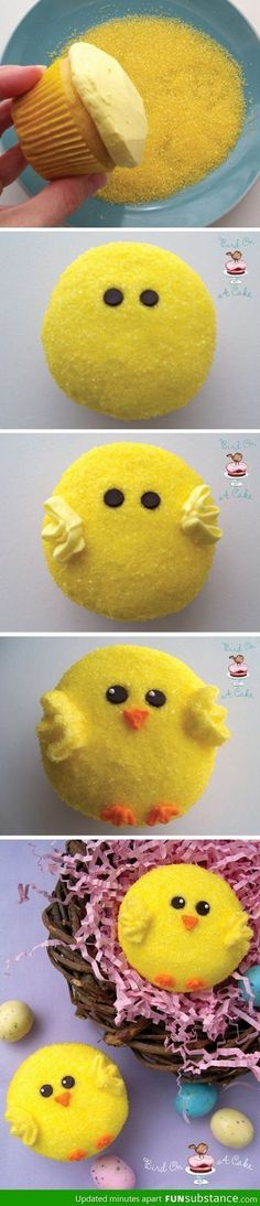 Cutest and easiest little chick cupcakes!