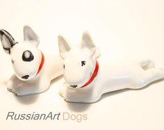 Bull Terrier dog ceramic figurine handmade statue