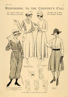 nurses' uniform 7845, apron and cap 7847, overall suit 7860, sun hat 7850, waist 7073, skirt 7011 - McCall's magazine,  July 1917