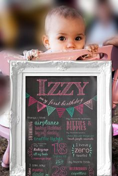 First Birthday Chalkboard Poster $12.50 on Etsy- This would be an amazing photo prop for first birthday photoshoots & for smash cake backgrounds!