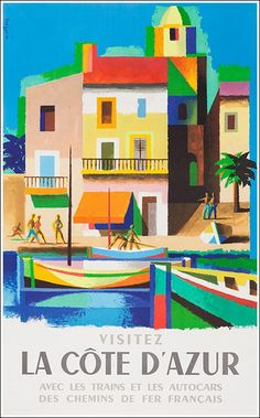 Côte d'Azur poster manifesto #vintage #original #travel www.posterimage.it