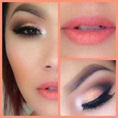 Love this eye/lip combo. It's very soft and romantic. The new bronze/brown/golden smokey with peach lips.