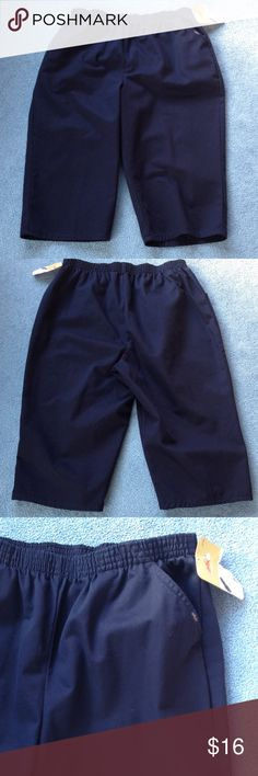 """Chic elastic waist Capri 18W AVG Plus NWT Navy blue color with front pockets. 100% cotton. Around waist is 35"""",  31"""" from waist to hem at side seam, inseam 18"""", waist to crotch 14"""", hem width 20"""". Chic Pants Capris"""
