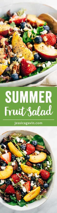 Summer Fruit Salad with Peach Poppy Seed Dressing – Light and healthy salad served with a ripe peach dressing ready in five minutes or less!   jessicagavin.com