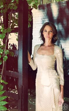 Christy Turlington.  Love the cut of the dress and the pattern, wish it were a different color.