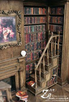Corner of amazing miniature library room box - 1/12 scale