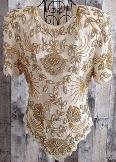 Vintage Laurence Kazar Sequin Beaded Top Blouse 100% Silk Ivory Gold Lined M…