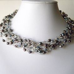wire crochet  jewelry | Crochet Wire Necklace Beaded Peacock Gray Freshwater Pearls Crystals ...