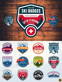 Ski Patrol Badges #design Buy Now: https://creativemarket.com/emberstudio/57779-Ski-Patrol-Badges?u=ksioks