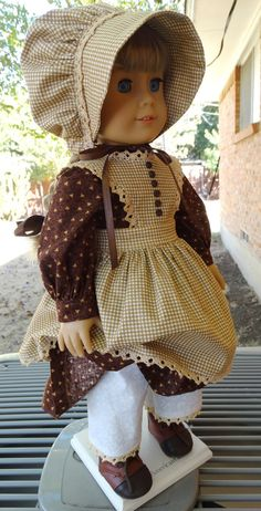 18 Doll Clothes Prairie Style Dress Pinafore and by Designed4Dolls