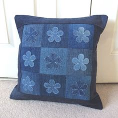 Denim patchwork applique cushion | wowthankyou.co.uk