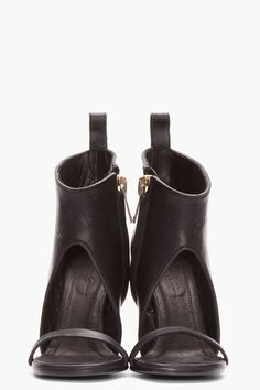 RICK OWENS Black Leather Spike Sandals