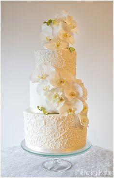 Romantic Orchid Wedding Cake