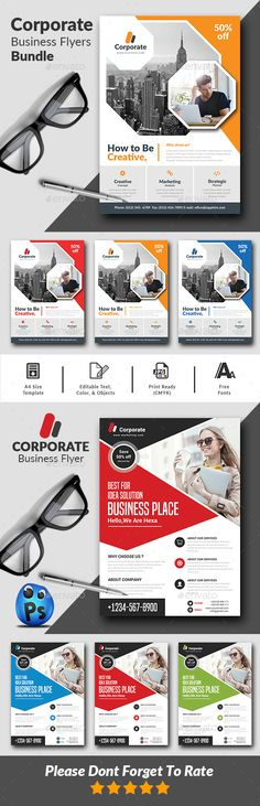 Corporate Flyer Template PSD - Download: https://graphicriver.net/item/corporate-flyers-bundle/21728301?ref=ksioks