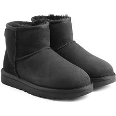 UGG Australia Classic Mini Suede Boots ($150) ❤ liked on Polyvore featuring shoes, boots, black, mini shoes, black shoes, black suede boots, suede shoes and ugg boots