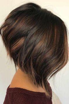 Stylish Short Hair Ideas Brown Highlights A Line Bob Cut 1 1