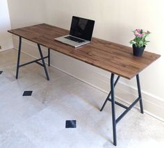 Large Desk Hand-finished Wood and Metal Table on by goldenrulenyc