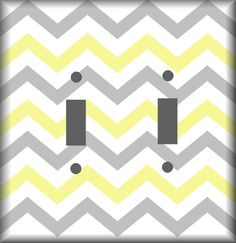 Yellow and Gray Chevron Pattern Light Switch Covers by woodendoll