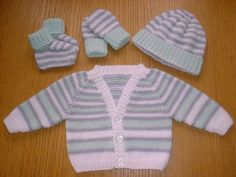 KNITTING PATTERN Pdf instant download to your email: premature baby cardi, hat, mitts and booties set in double knit (UK) yarn by Angela Turner.