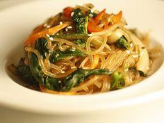 Sweet potato noodles stir fried in sesame oil with various vegetables, Japchae (잡채)