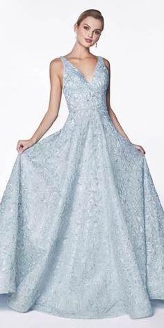 Cinderella Divine Floor Length Floral Ball Gown Blue V-Neckline And Strappy Back Bride Dresses, Prom Dresses, Formal Dresses, Funeral Dress, Dream Prom, A Line Gown, Blue V, Latest Dress, Quinceanera Dresses