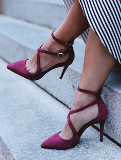 Strappy burgundy suede stiletto heels