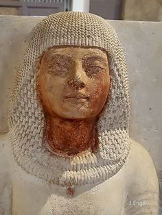 The scribe Meryre, detail from the double statue of the high priest Meryre and his wife Aniuia, ca 1335 BC, painted limestone, from the Necropolis of Saqqara, Egypt. Egyptian Civilisation, New Kingdom, Dynasty XVIII. Cairo, Egyptian Museum.