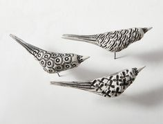 Birds in Flight by Jenifer Thoem - Set of Three, Right Facing (Ceramic Wall Sculpture) Clay Birds, Ceramic Birds, Ceramic Animals, Pottery Animals, Clay Animals, Sculptures Céramiques, Bird Sculpture, Pottery Sculpture, Sculpture Projects