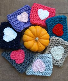 Crochet Heart Coffee Cozy - Many Color Choices!