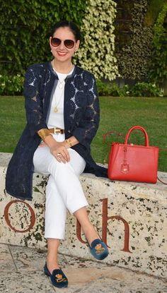 Susana Fernandez | A Key to the Armoire | white jeans | Fendi 2Jours | Stubbs Wooton | velvet loafers | Ann Taylor | Organdi Coat | Navy blue coat | Hermes belt | jeans t-shirt | white tee | Ralph Lauren | Worth Avenue | Palm Beach | Fendi | red sunglasses